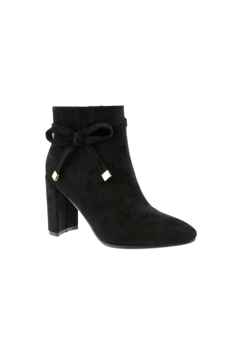 Susst Black Microfibre Sculptured Heel Ankle Boot