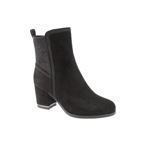 Susst Black Microfibre Plain Ankle Boot