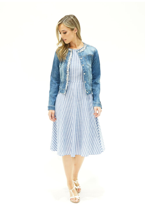 Pamela Scott Blue Stripe A line Dress