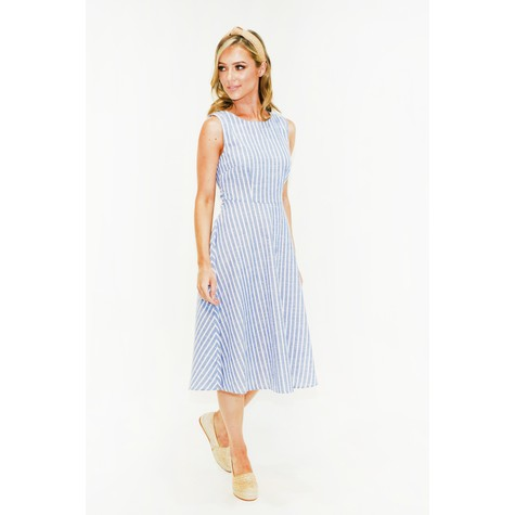 Stella Morgan  Blue Stripe A line Dress