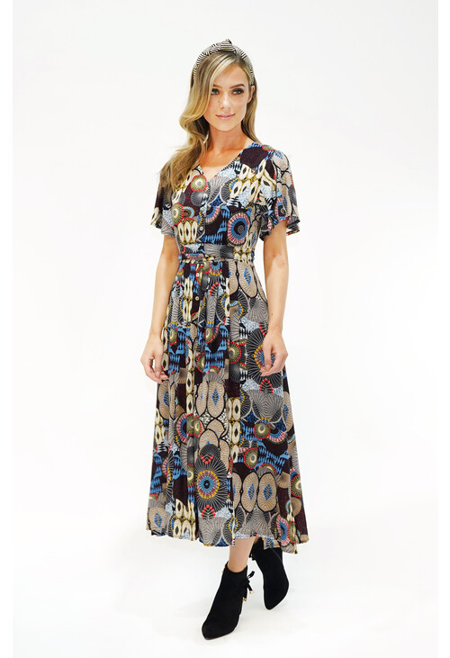 Zapara Geo Print Button Down Maxi Dress