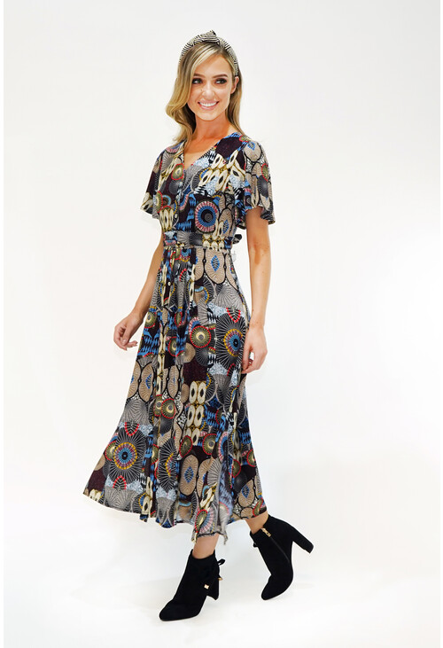 Zapara Geo Print Button Down Maxi Dress