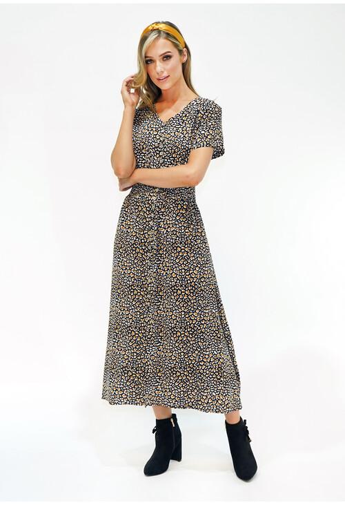 Zapara Animal Print Shirred Waist Maxi Dress