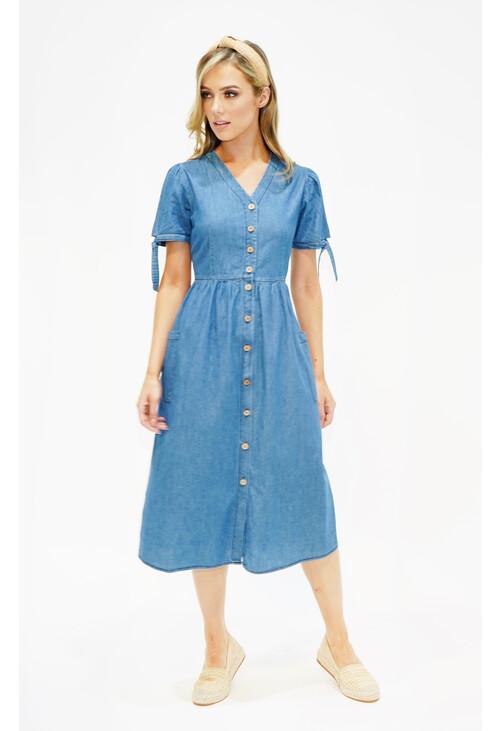 Zapara Denim Dress with Sleeve and Pocket Detail