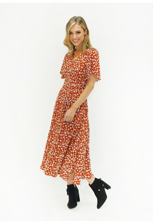 Zapara Floral Button Down Dress