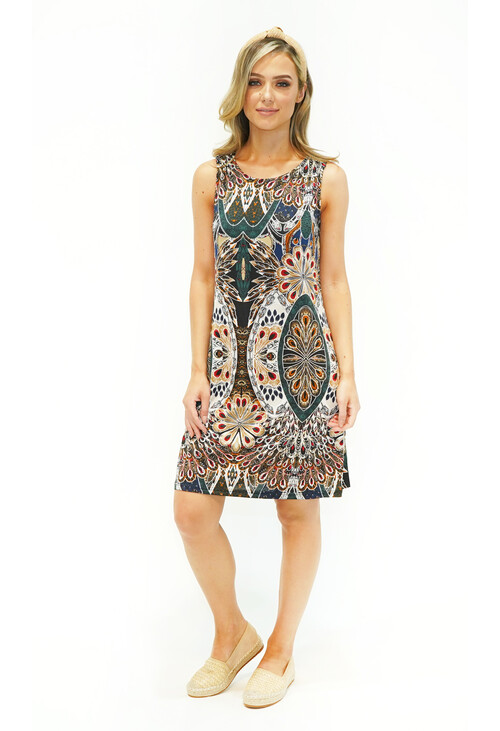 Pamela Scott Green Peacock Pattern Print Dress