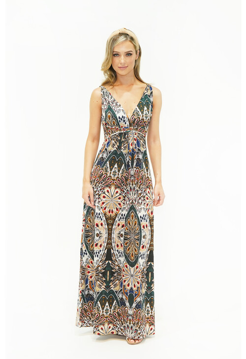 Pamela Scott Peacock Print Maxi Dress