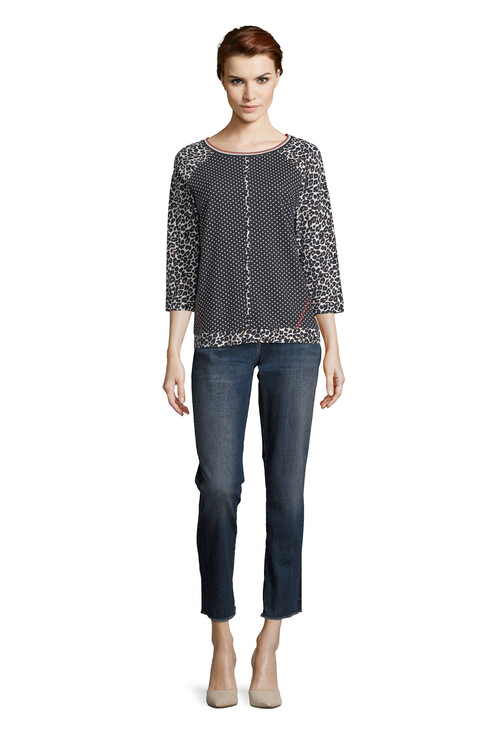 Betty Barclay Raglan Sleeve Polka Dot and Leopard Print Top