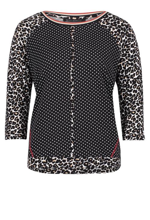 Betty Barclay Raglan Sleeve Polka Dot and Leopard Print Top