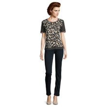 Betty Barclay Polka Dot and Leopard Print Top with Rhinestones