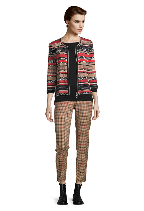 Betty Barclay Printed Zip Front Rib Jacket