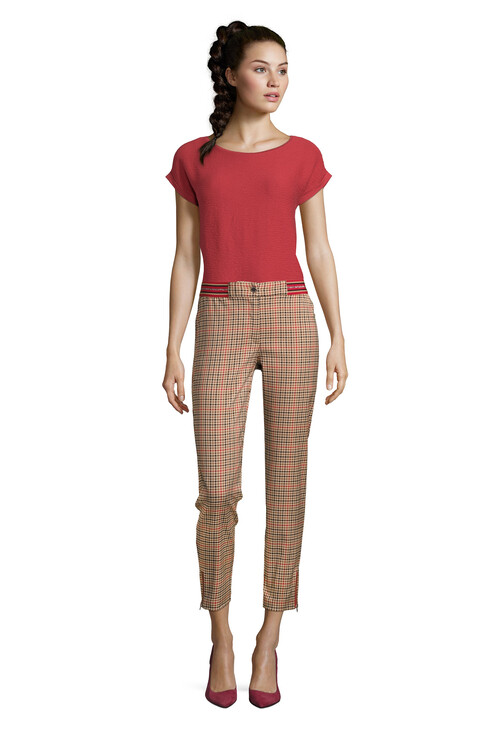 Betty Barclay Plaid Elasticated Waist Trousers