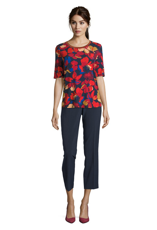 Betty Barclay Floral Print Top with Stripe Rib Detail