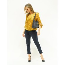 Zapara Ocher & Navy Abstract Print Sweetheart Blouse