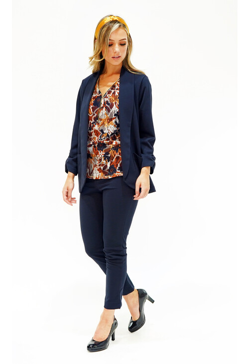 Sophie B Navy Crepe Open Suit Jacket