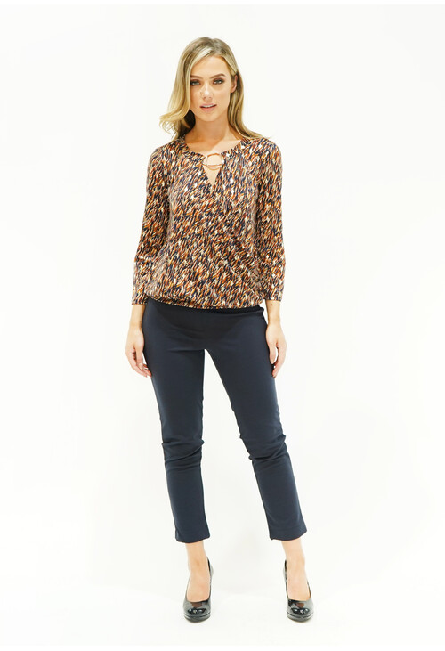 Zapara Animal Print Gold Fleck Pattern Blouse