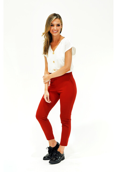 Sophie B RUST BELTED TROUSERS