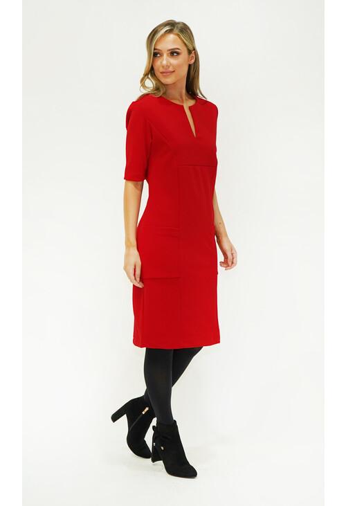 Zapara Red Pocket & Neckline Detail Dress