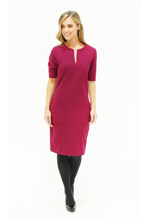 Zapara Prune Pocket & Neckline Detail Dress