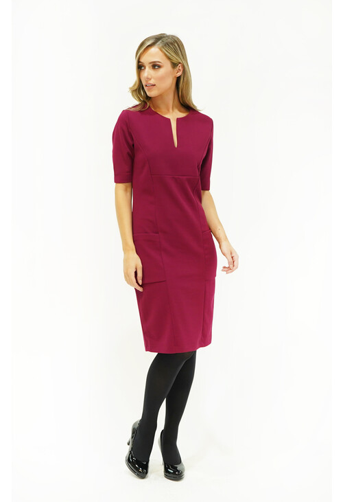 Zapara Prune Pocket & Neckline Detail Dress
