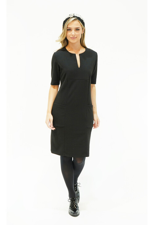 Zapara Black Pocket & Neckline Detail Dress
