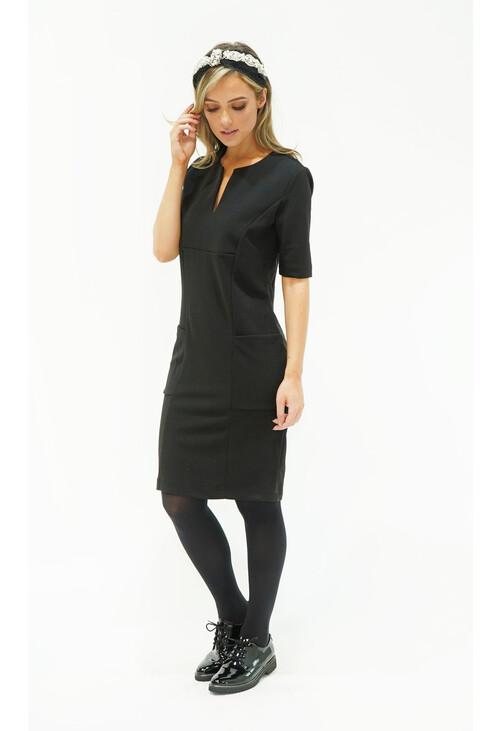 Zapara Black Pocket & Neckline Detail Dress