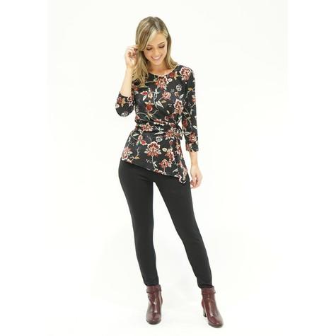Zapara Black Floral Design Top