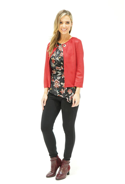 Zapara Red Velvet Effect Eyelet Detail Crop Jacket