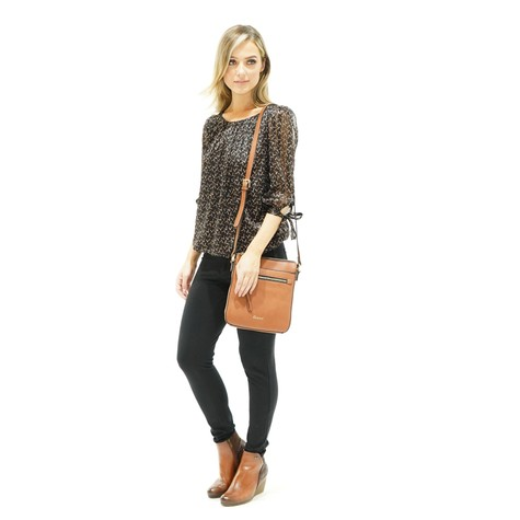 Zapara Black Brown Abstract Top