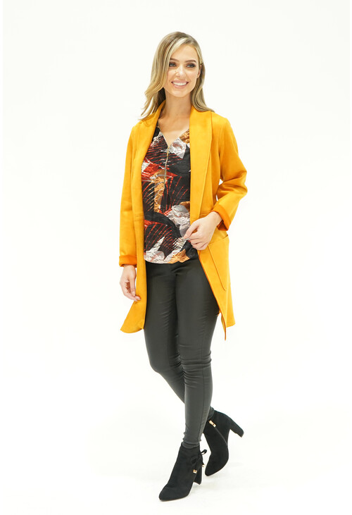 Sophie B Mustard Suede Effect Long Line Jacket