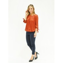 Zapara Rust Abstract Print Top