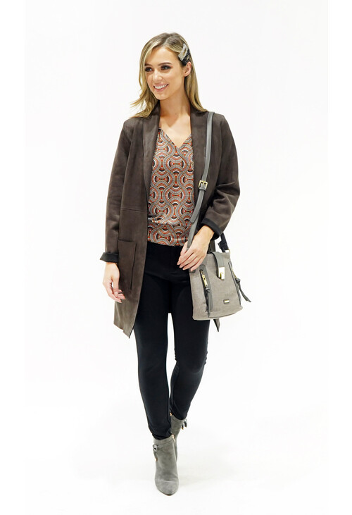 Sophie B Brown Suede Effect Long Line Jacket