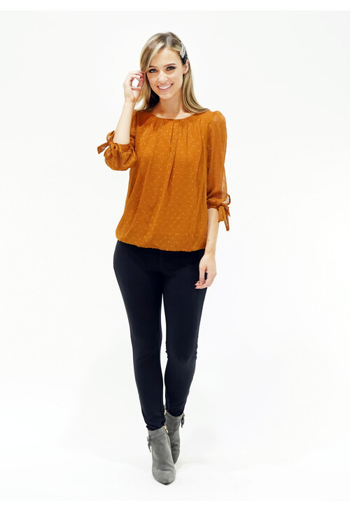 Zapara Tan Lurex Stripe Blouse