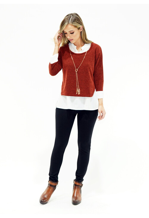 Sophie B 2 In 1 Rust Top With Chain Detail