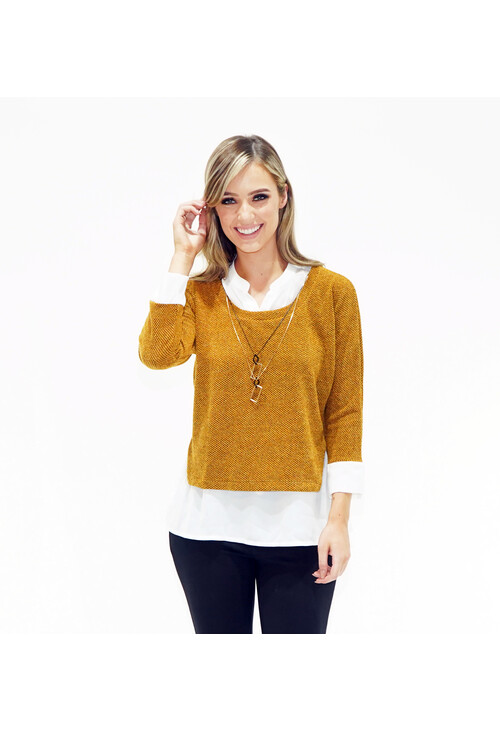 Sophie B 2 In 1 Ochre Top With Chain Detail