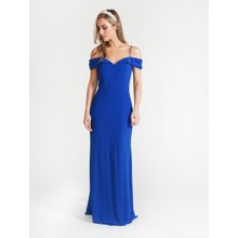 R and M Richard Royal Blue Off Shoulder Dress