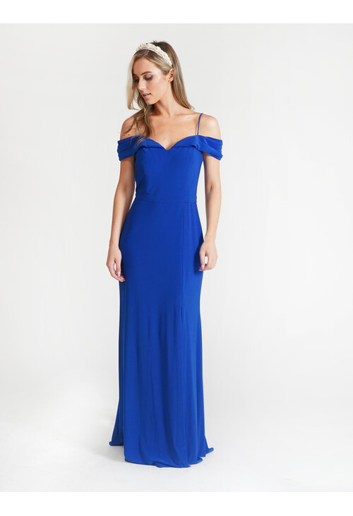 R and M Richard Royal Blue Off Shoulder Dress
