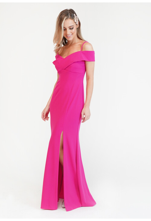 R and M Richard Fushia Pink Scuba Neck Dress