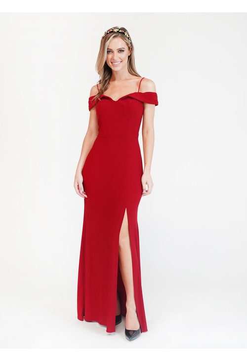 R and M Richard Red Off Shoulder Dress