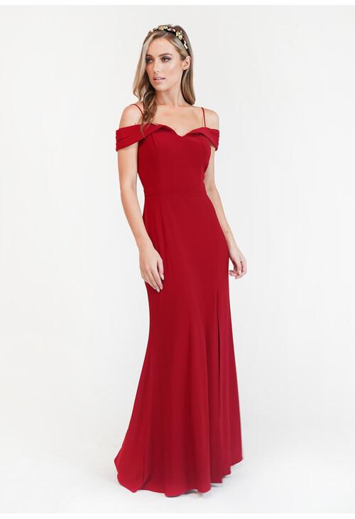 R and M Richard Red Off Shoulder Dress