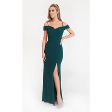 R and M Richard Pine Green Off Shoulder Dress