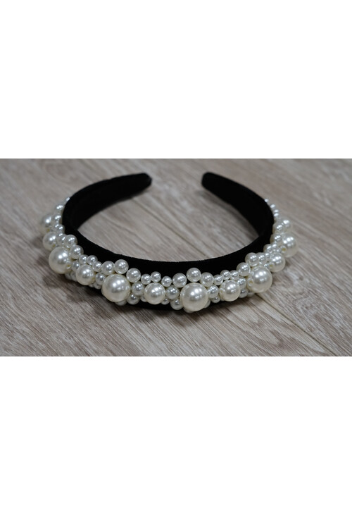 Pamela Scott Black and Pearl Headband