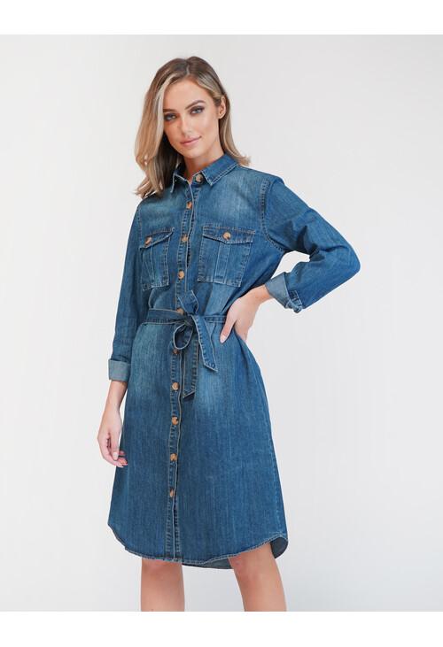Pamela Scott Denim Shirt Dress With Pleated Pocket Detail