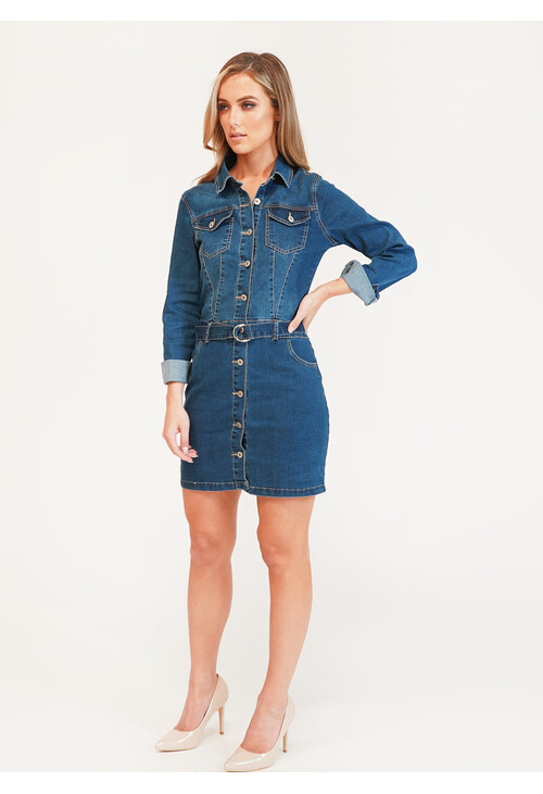 Pamela Scott SHIRT DENIM DRESS SIDE POCKETS