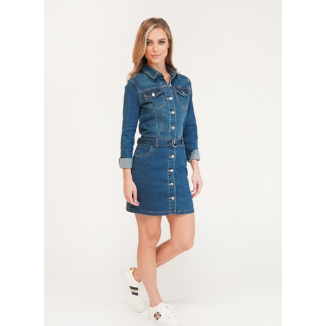 Pamela Scott SHIRT DENIM DRESS SIDE POCKETS