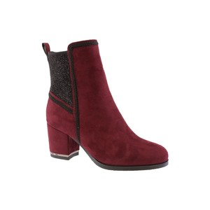 Susst Burgundy Microfibre Plain Ankle Boot