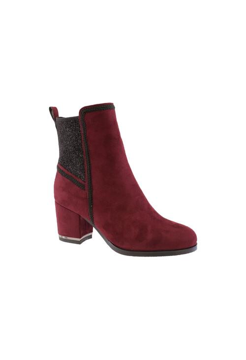 Susst Burgundy Microfibre Plain Ankle Boot