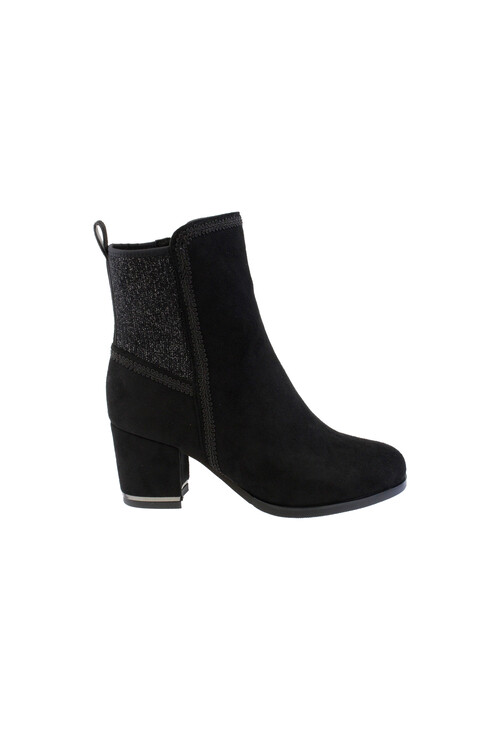 Susst Black Microfibre Plain Ankle Boot