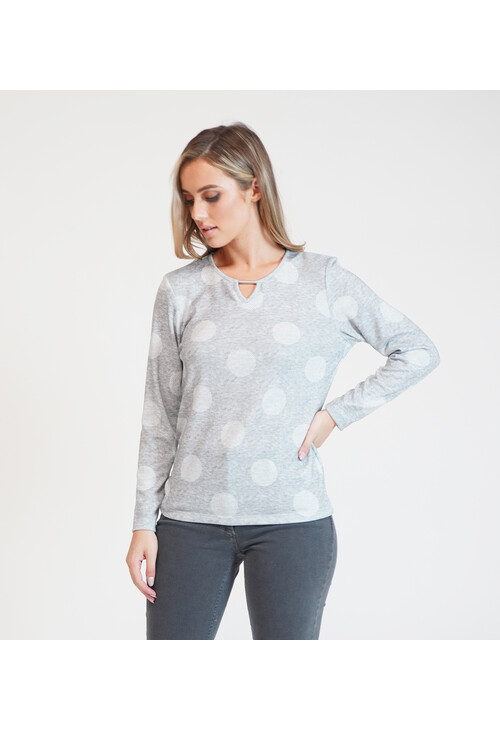 Twist Polka Dot Long Sleeve Top