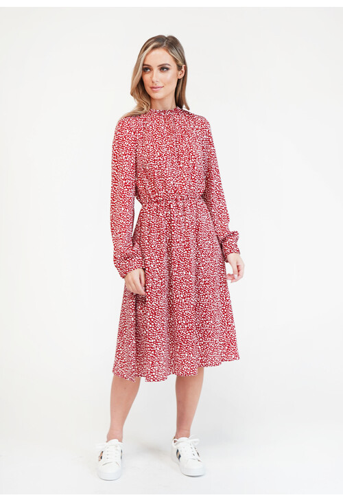 Pamela Scott Printed Gathered Waist Dress